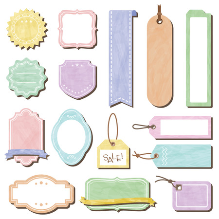 Watercolor style label & tag set
