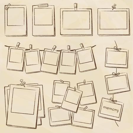 Handwriting style photo frame set Ilustração Vetorial