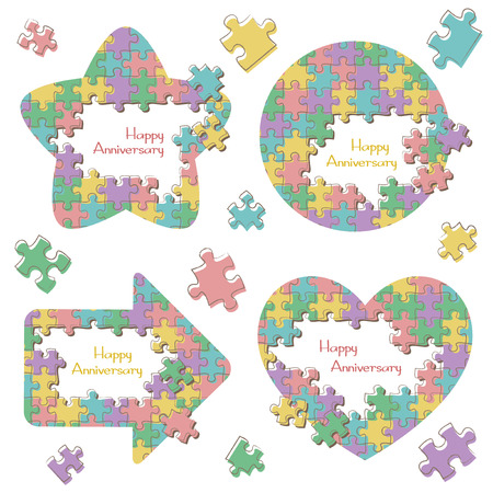 Jigsaw puzzle frame set Vektorové ilustrace