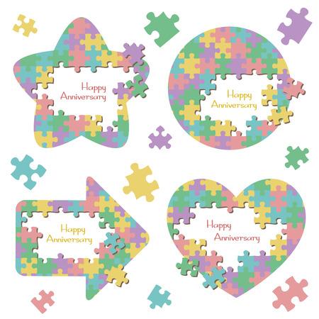 Jigsaw puzzle frame set  イラスト・ベクター素材