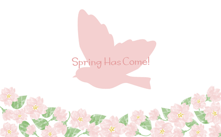 Background watercolor cherry blossom bird