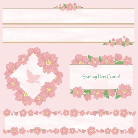 Watercolor cherry blossom frame