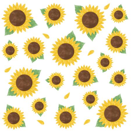 Watercolor sunflower illustration set 写真素材