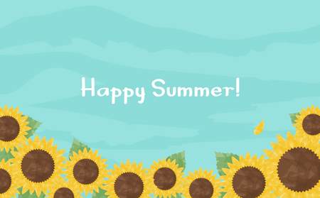 Sunflower watercolor backgrounds  イラスト・ベクター素材