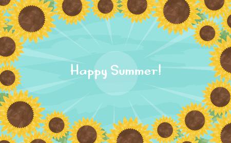 Watercolor sunflower Sun background