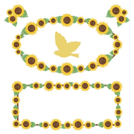 Sunflower watercolor frames  イラスト・ベクター素材