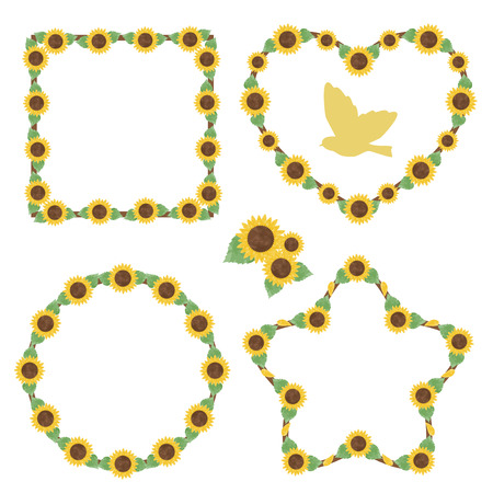 Sunflower watercolor frames 写真素材