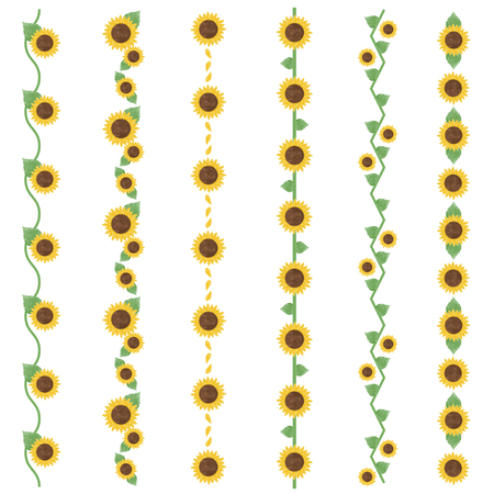 Watercolor sunflower line 写真素材