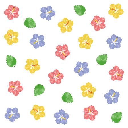 Watercolor hibiscus illustration set  イラスト・ベクター素材