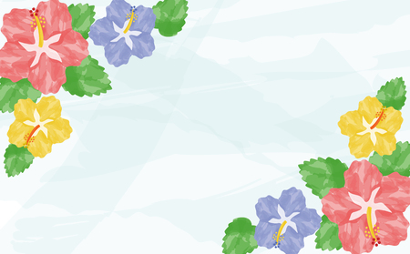Watercolor hibiscus background  イラスト・ベクター素材