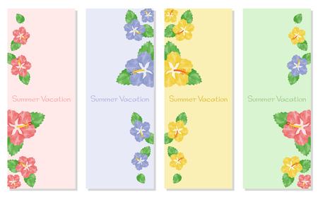 Watercolor hibiscus background Ilustração