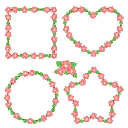 Watercolor hibiscus frames Ilustração