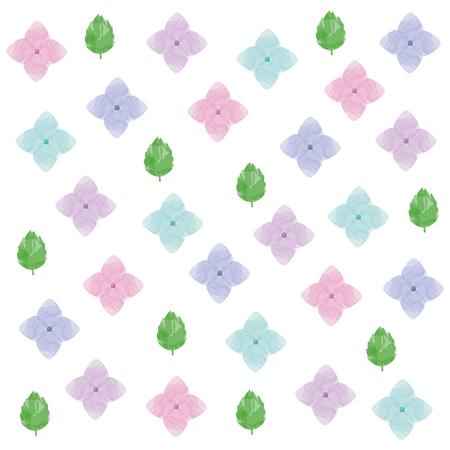 Watercolor hydrangea petals illustration set