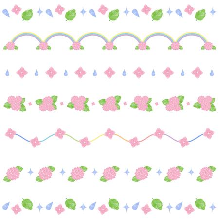 Watercolor hydrangea line Ilustração