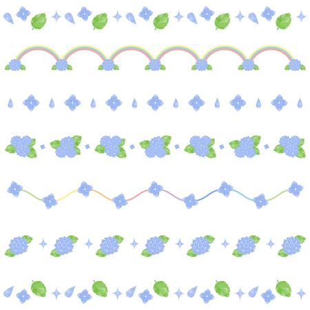 Watercolor hydrangea line  イラスト・ベクター素材