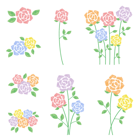 Watercolor roses illustration set