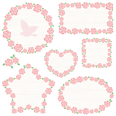 Watercolor roses frame Stock Illustratie