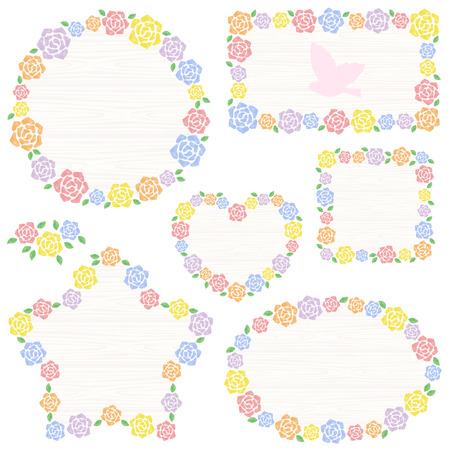 Watercolor roses frame Ilustração