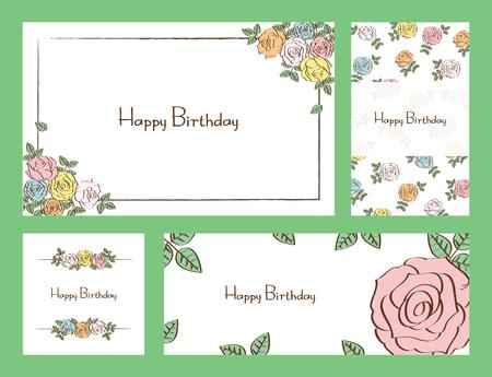 floral birthday set  イラスト・ベクター素材