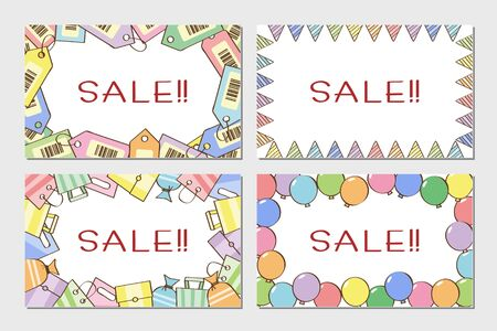 Sale Line Style card set  イラスト・ベクター素材
