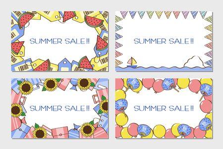 Summer Sale Line Style card set