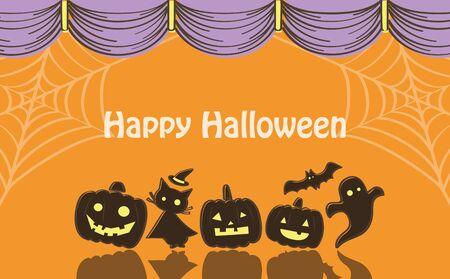 Halloween Curtain Background  イラスト・ベクター素材