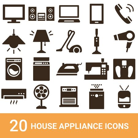 Product Icon Household Appliances Silhouette 20 sets Stock Vector - 130324780