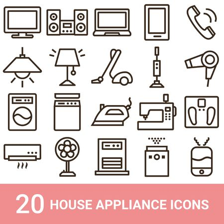 Product Icon Household Appliances Line 20 sets