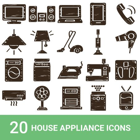 Product Icon Household Appliances Handwriting 20 Sets