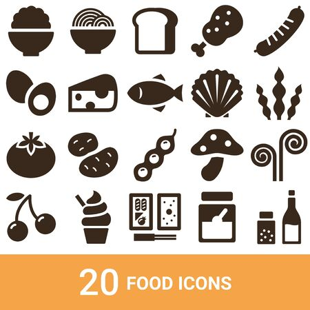 Icône de produit Silhouette de nourriture 20 ensembles