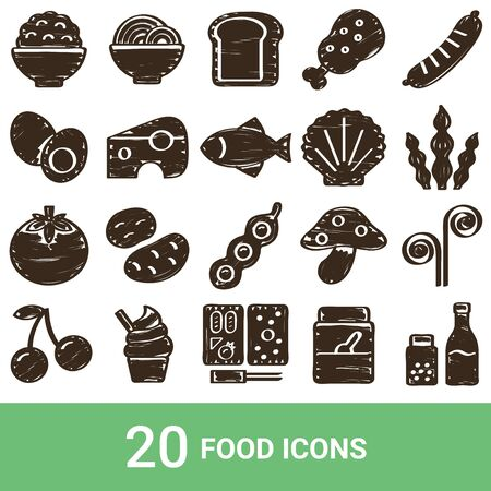 Product Icon Food Handwriting 20 Sets  イラスト・ベクター素材