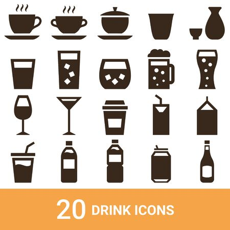 Product Icon Drink Silhouette 20 sets