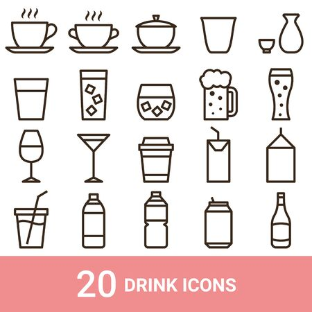 Product Icon Drink Line 20 Sets