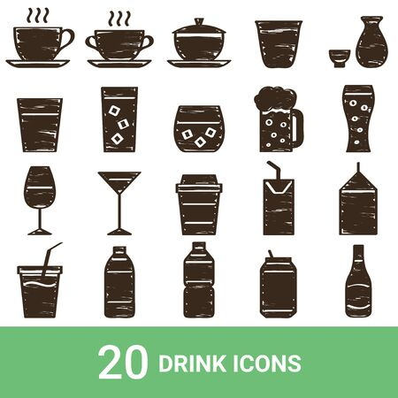 Product Icon Drink Handwriting 20 Sets  イラスト・ベクター素材