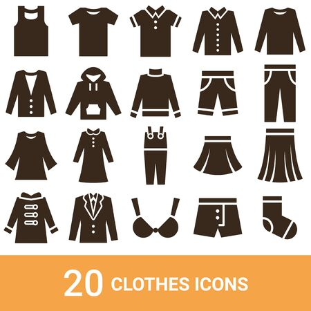 Product Icon Fashion Silhouette 20 sets  イラスト・ベクター素材