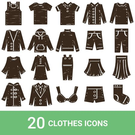 Product Icon Fashion Handwriting 20 Sets  イラスト・ベクター素材