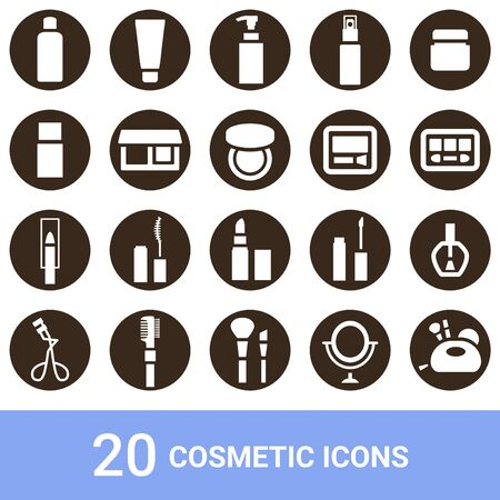 Product Icon Cosmetics White Pulling out 20 sets Illustration