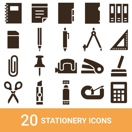 Product Icon Stationery Silhouette 20 sets