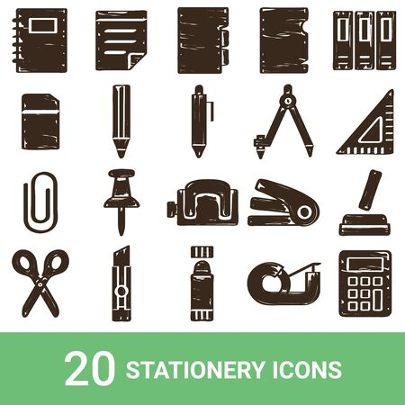 Product Icon Stationery Handwriting 20 sets  イラスト・ベクター素材