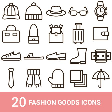 Product Icon Fashion Goods Line 20 sets  イラスト・ベクター素材