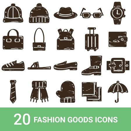 Product Icon Fashion Goods Handwriting 20 sets Stock Illustratie