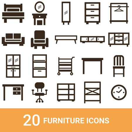 Product Icon Furniture Silhouette 20 Sets