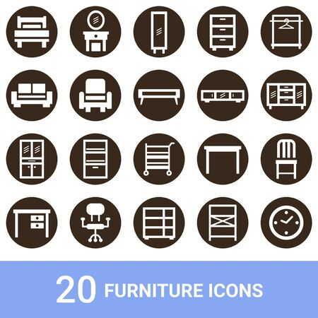 Product Icon Furniture White 20 Sets