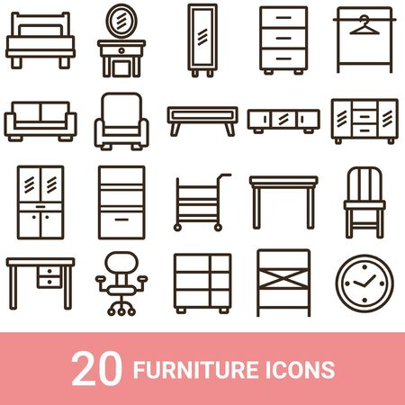 Product Icon Furniture Line 20 Sets 写真素材 - 134258253