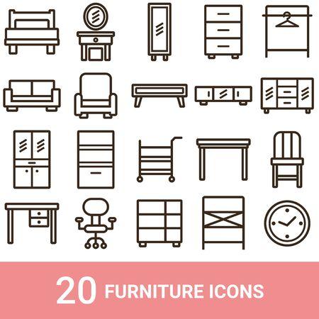 Product Icon Furniture Line 20 Sets Illustration