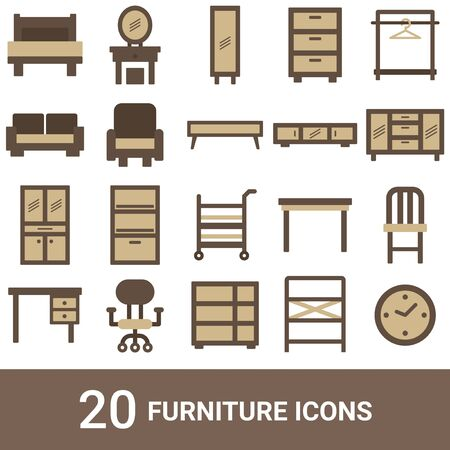 Product Icon Furniture Color 20 Sets  イラスト・ベクター素材