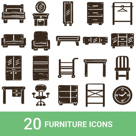 Product Icon Furniture Handwriting 20 Sets  イラスト・ベクター素材