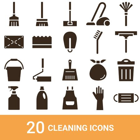 Product Icon Cleaning Tools Silhouette 20 Sets