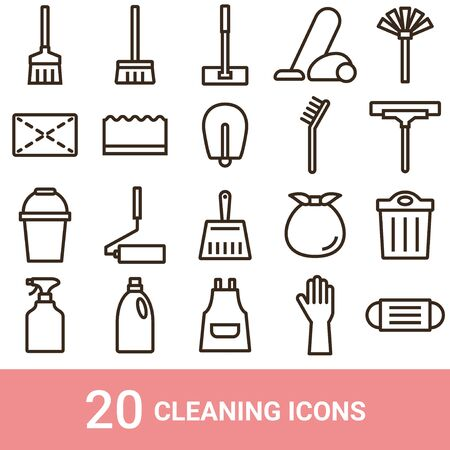 Product Icon Cleaning Tools Line 20 Sets