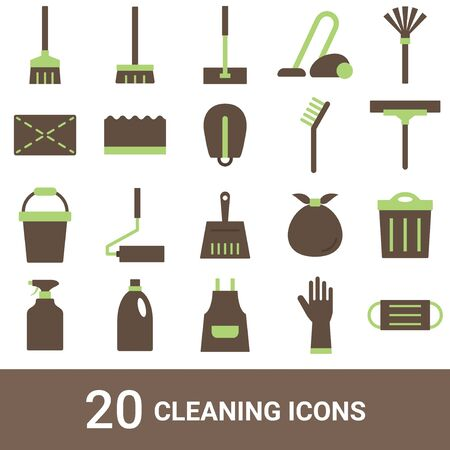Product Icon Cleaning Tools Color 20 Sets